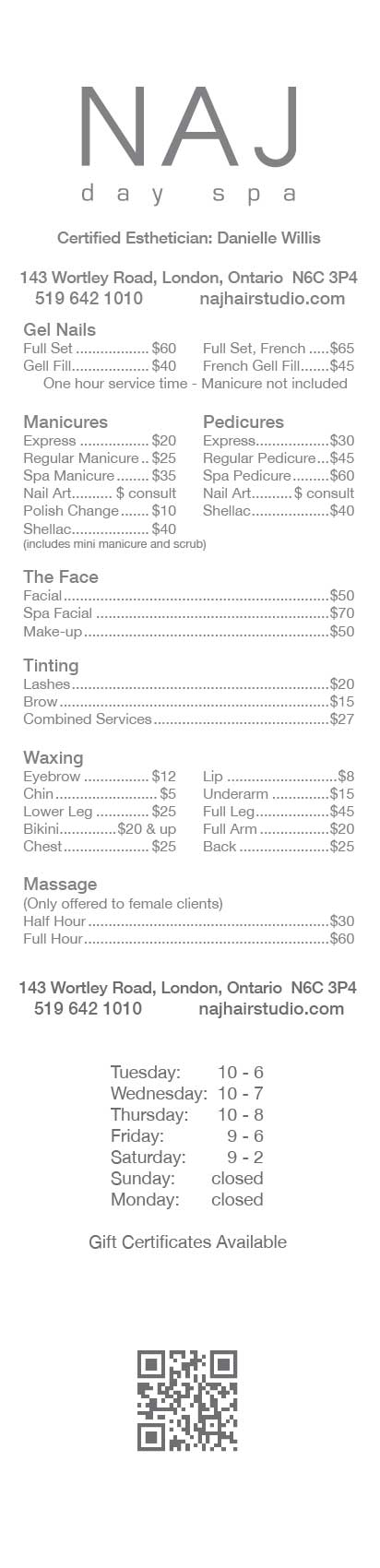 Naj Day Spa Price List Jan 2013